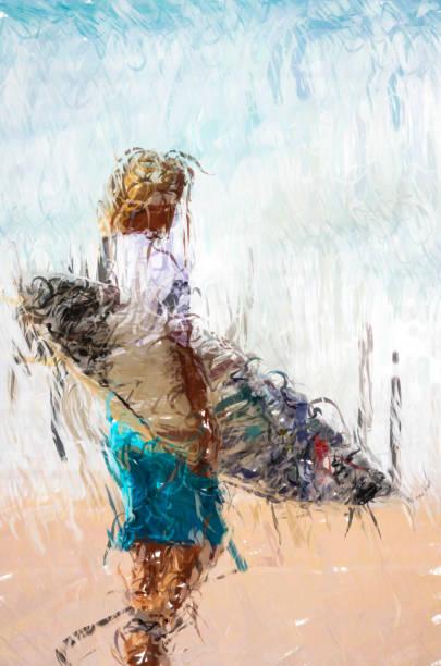 junge surfer am strand zu fuß - digitale illustration - digital surfer stock-fotos und bilder
