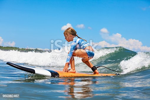 istock Young surfer rides on surfboard with fun on sea waves 950382462