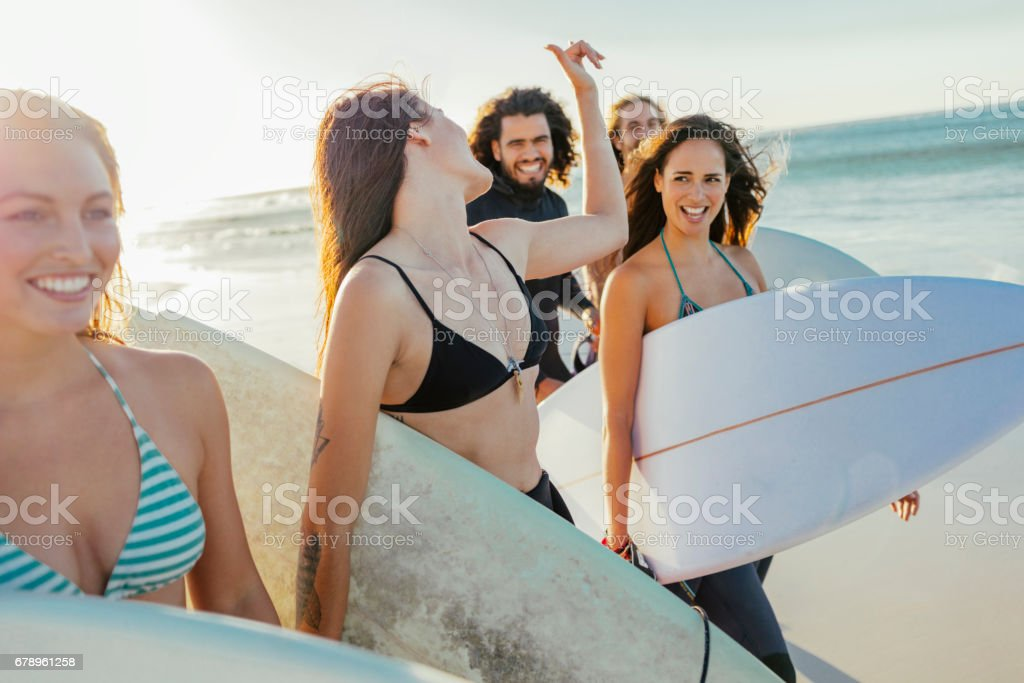 Young surfers stock photo