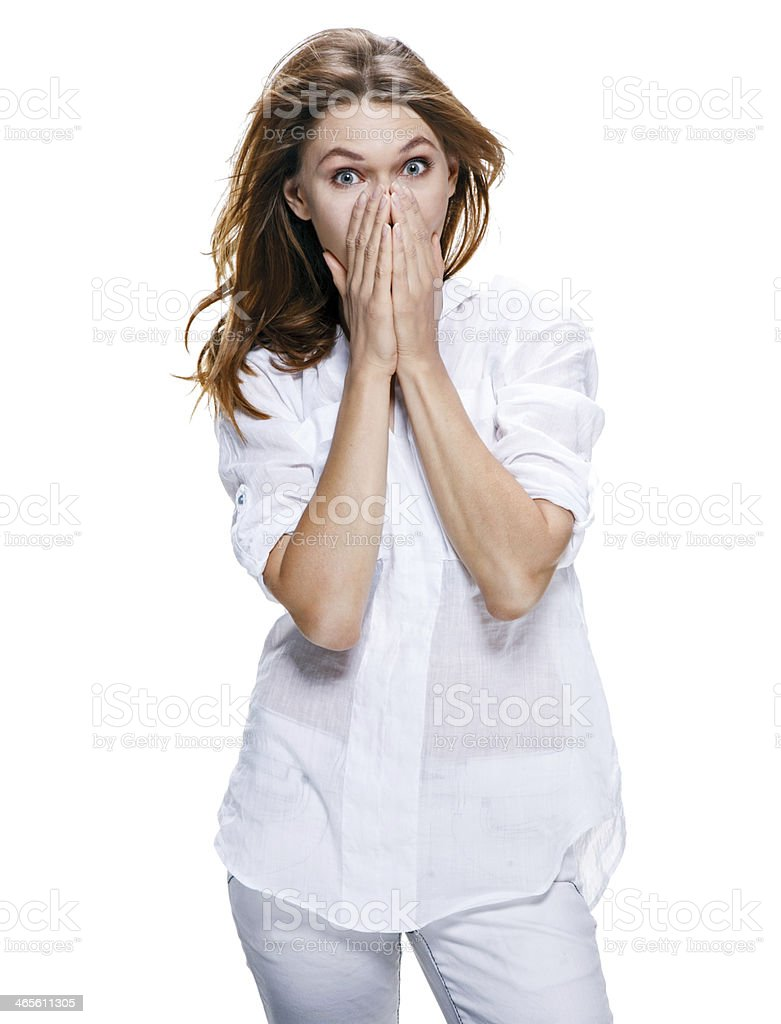 Young surprised beautiful woman isolated on white royalty-free stock photo