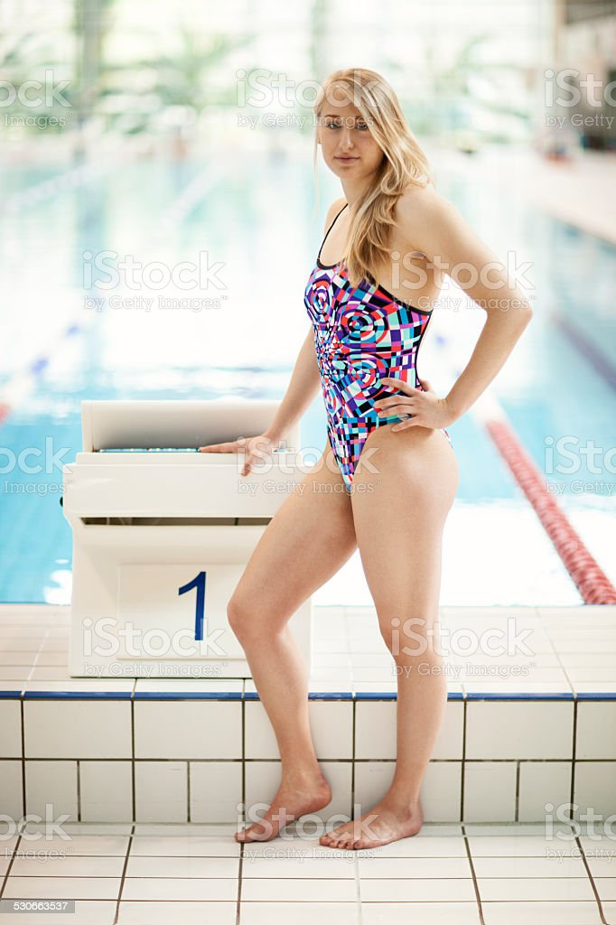 Young Swimmer At Starting Block stock photo