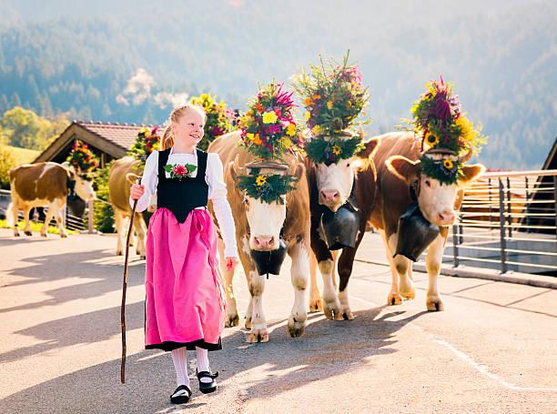 Junge Schweizer Farmer Mädchen, die Kühe zu Fair – Foto