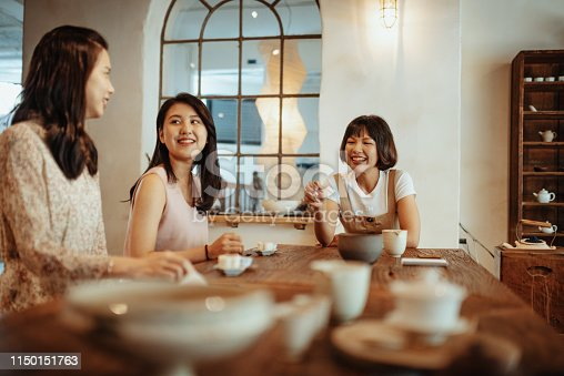 Young Taiwanese and Chinese women spending time together and enjoying their leisure time and activities.