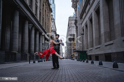 Latin couple dancing tango together in Argentina