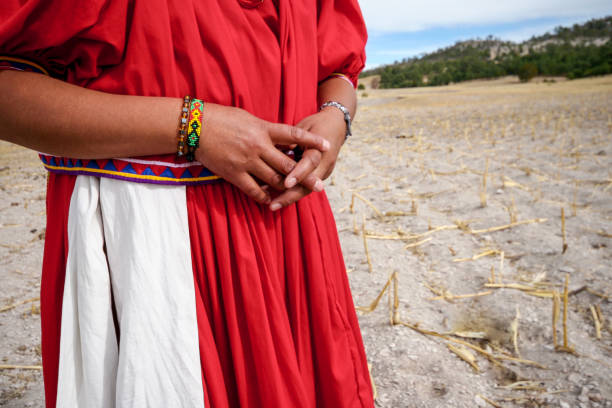 A woman Raramuri (Tarahumara) farmer in a completely arid corn field in northern Mexico Sierra Tarahumara, Chihuahua, Mexico, January 17 -- A woman of the Raramuri (Tarahumara) ethnic group in a completely arid and dead corn field in the community of Bocoyna, in the Sierra Tarahumara of the Mexican state of Chihuahua, an area very affected by drought, famine and the consequences of climate change. migratory workers stock pictures, royalty-free photos & images