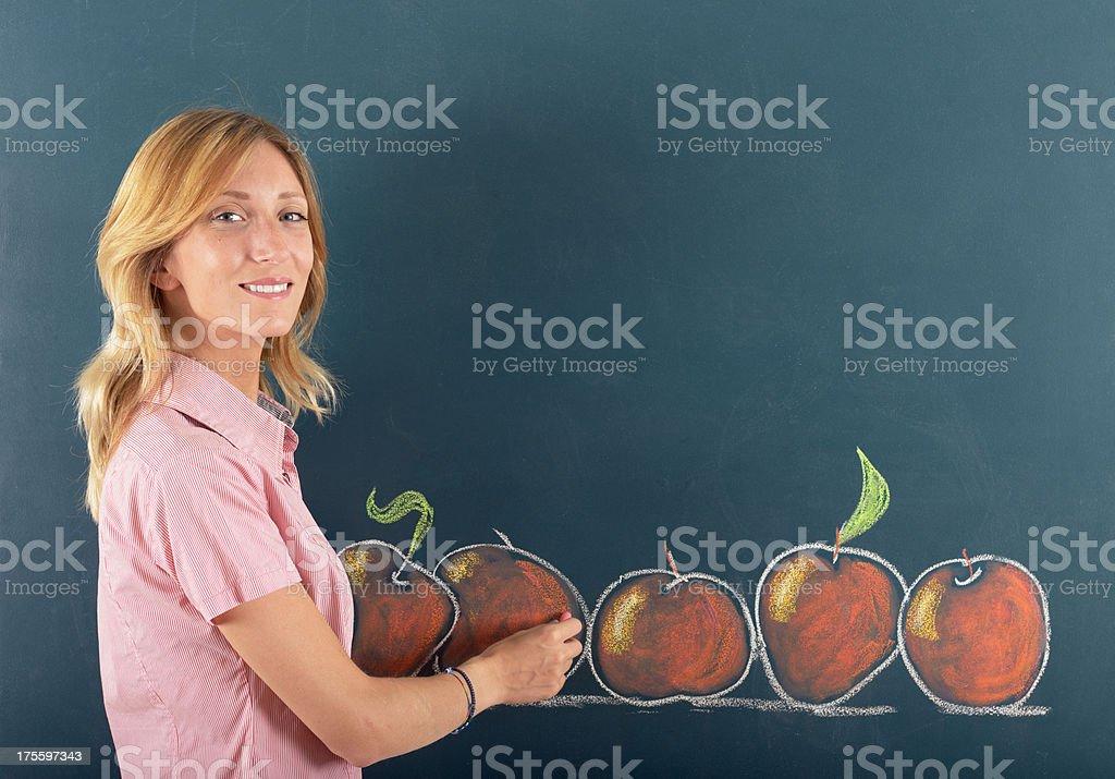 Young teacher or designer sketching apples