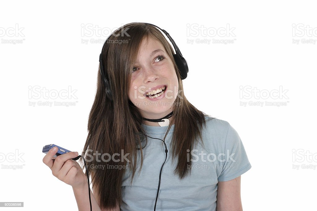 Young Teen Girl Listening To Music 4 royalty-free stock photo