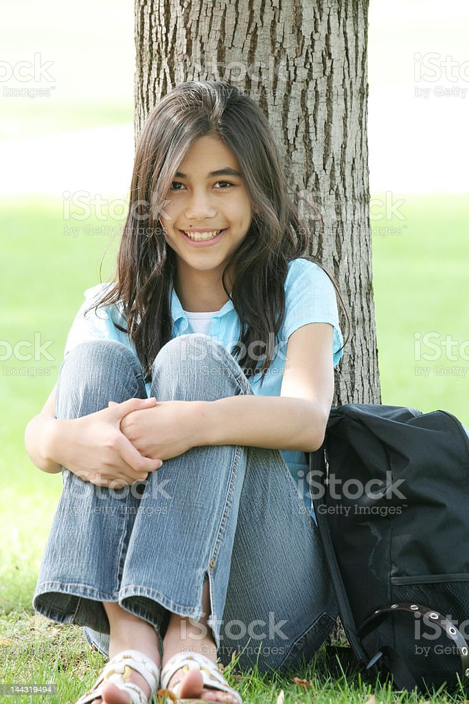 Young teen girl with backpack, ready for school. royalty-free stock photo