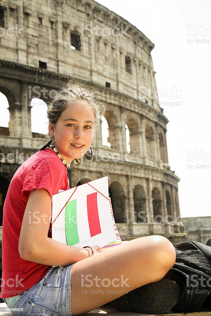 Young teen student at Rome royalty-free stock photo