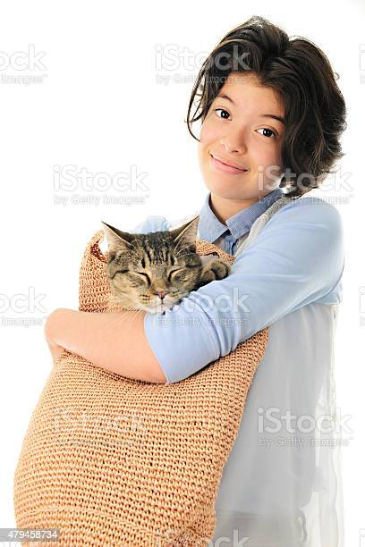 Young teen with her cat in a bag picture id479458734?b=1&k=6&m=479458734&s=612x612&h=dwagcn6hkpmgczbdmmpur3itpsmiw3oxwkey 6rpnz8=