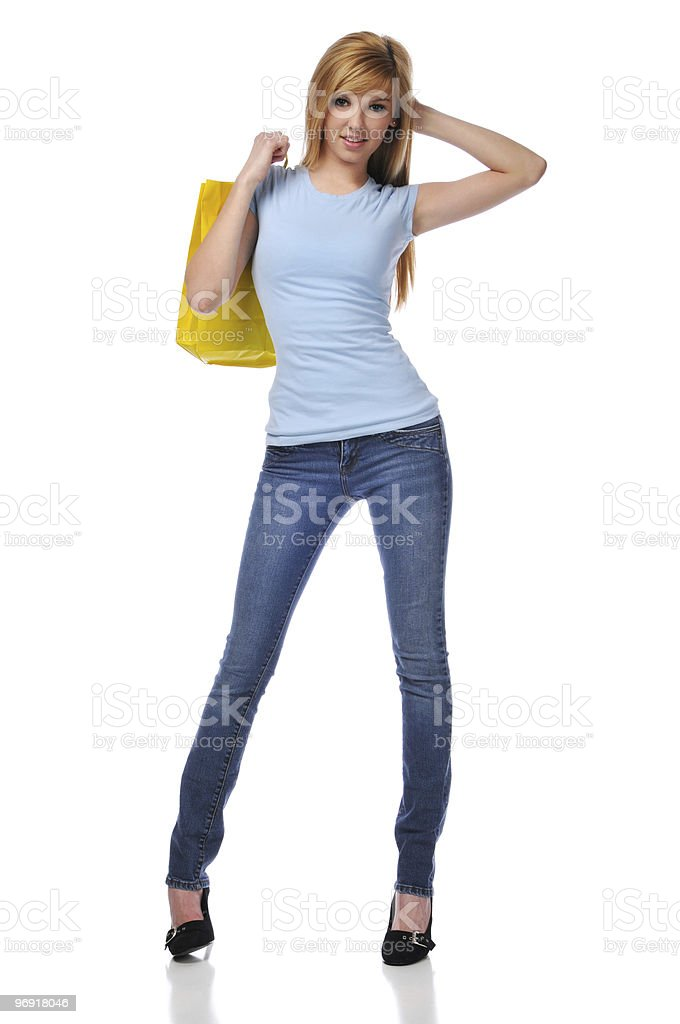 Young teen with shopping bag royalty-free stock photo