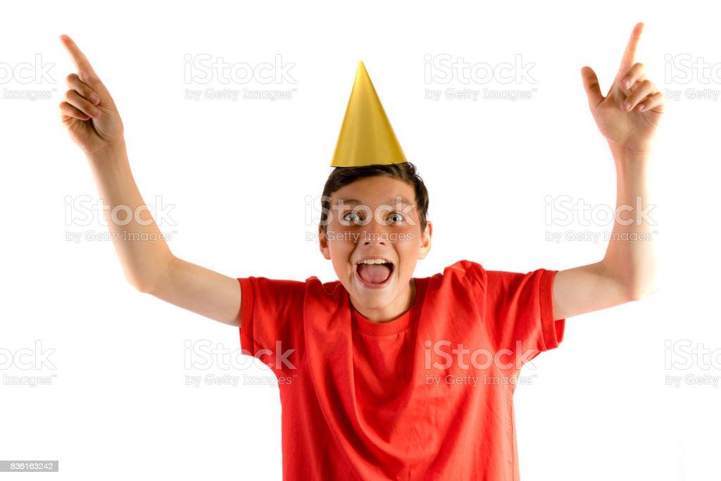 Junge Teenager, isoliert auf weiss feiern auf einer party – Foto