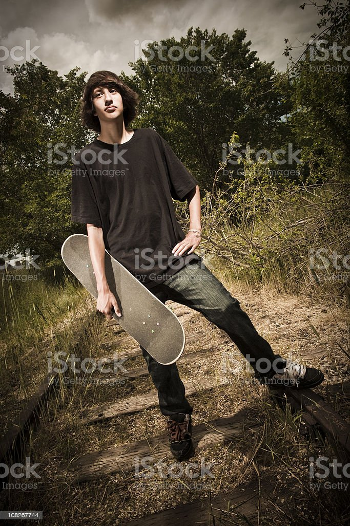 Young Teenage Boy Skateboarder royalty-free stock photo