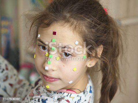514727472istockphoto Young teenage girl make up acne pimple on her face before a mirror, concept problem on skin 1147506392