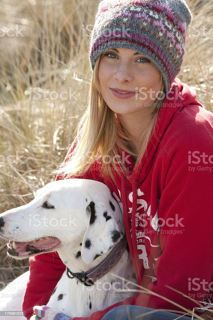 Young Teenager and Her Dog stock photo