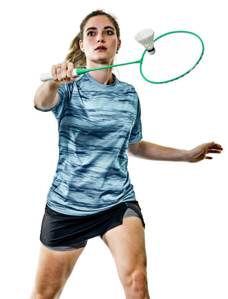 young teenager girl woman badminton player isolated - badminton sport stock pictures, royalty-free photos & images