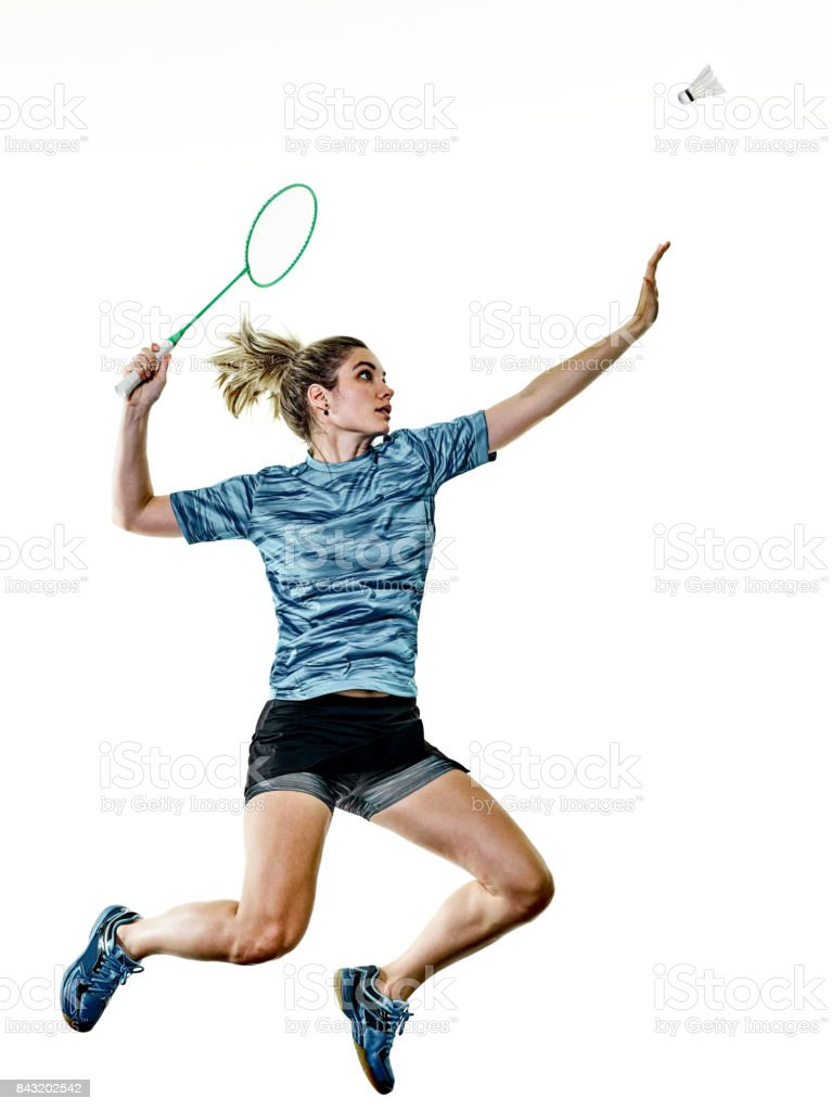 young teenager girl woman Badminton player isolated – zdjęcie