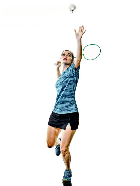 young teenager girl woman Badminton player isolated one caucasian young teenager girl woman playing  Badminton player isolated on white background badminton stock pictures, royalty-free photos & images
