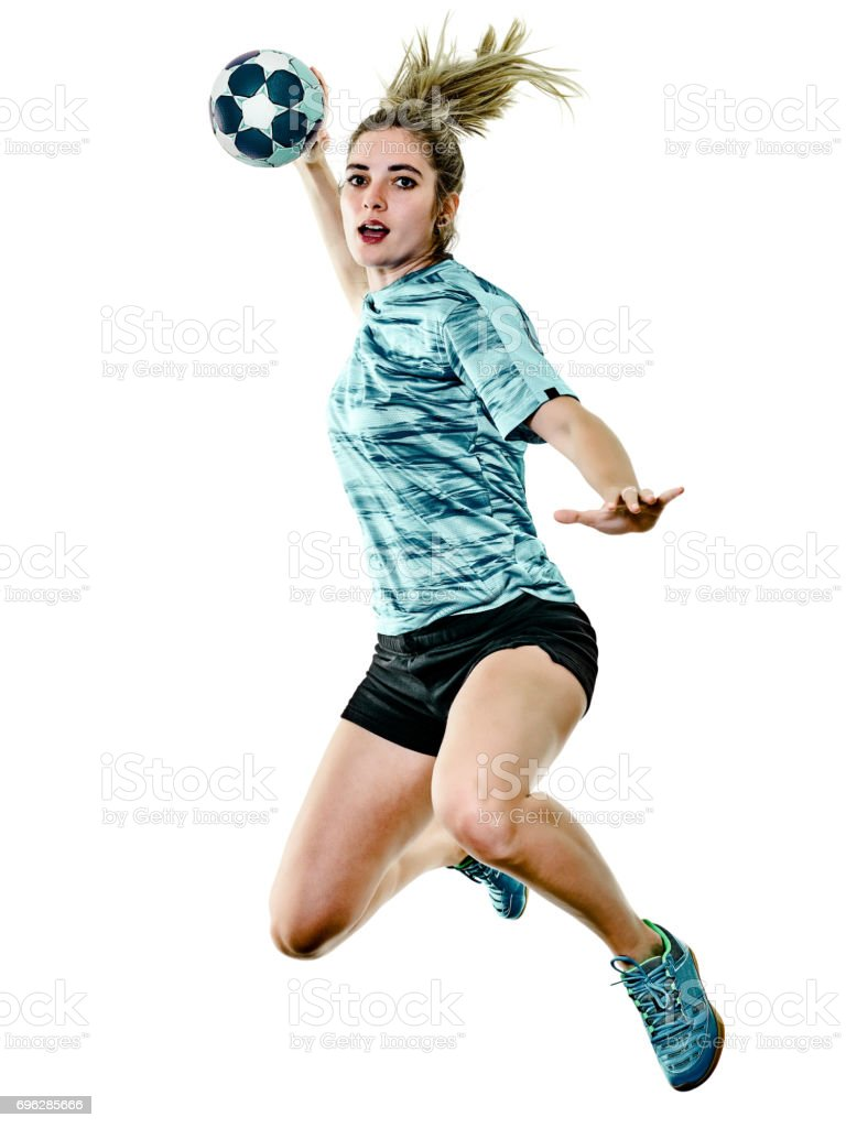 young teenager girl woman Handball player isolated - fotografia de stock
