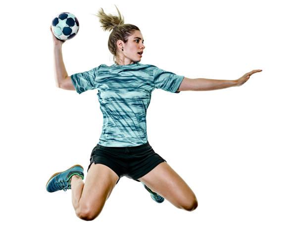 jugador de balonmano de mujer joven adolescente chica aislada - foto de stock