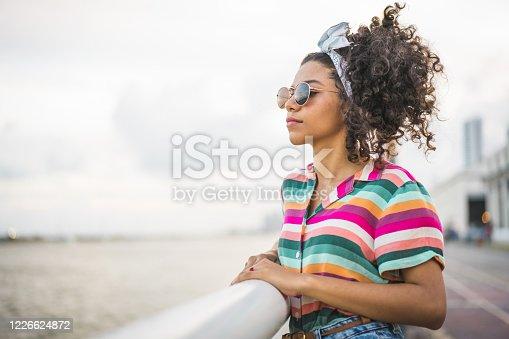 Young, Look, Sea, Pier, Teen girl