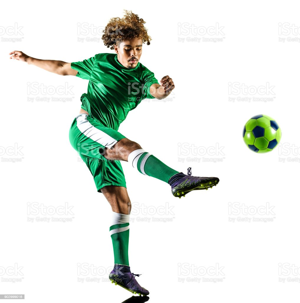 young teenager soccer player man silhouette isolated stock photo