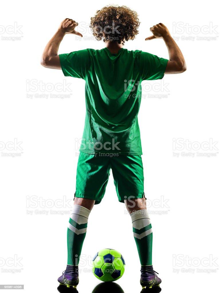 silueta de hombre de jugador joven adolescente fútbol aislado - Foto de stock de Adolescente libre de derechos