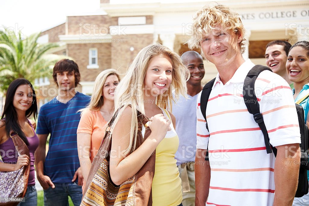Young teenagers at university standing together royalty-free stock photo