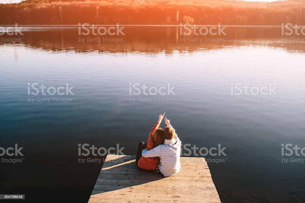 Young teenagers couple dreaming stock photo