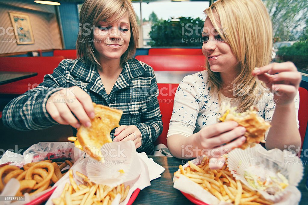 Young Teens at a Diner stock photo