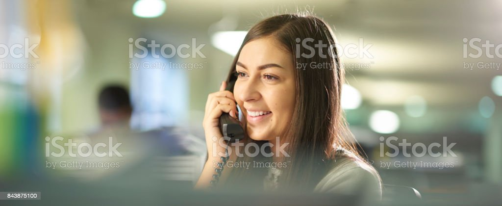 young telemarketer stock photo