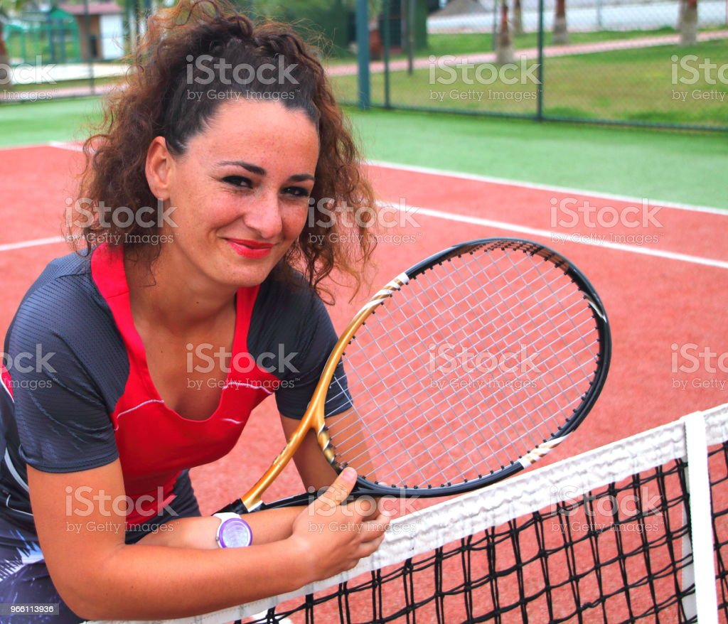 young tennis coach woman shooting - Royalty-free Activity Stock Photo