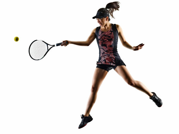 young tennis player asian woman isolated white brackground silhouette stock photo