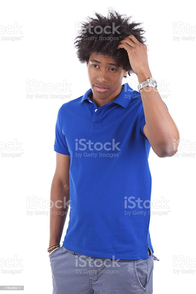 Young thoughtful black teenage men reading a books royalty-free stock photo