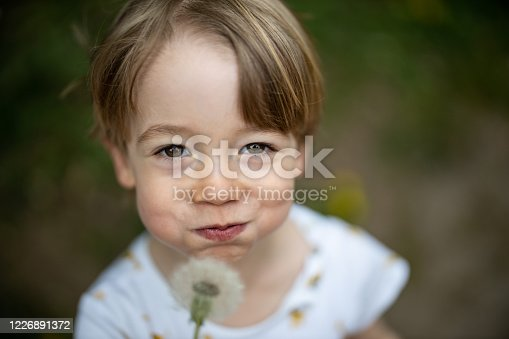 Young boy blowing a dandelion while smiling at the camera
