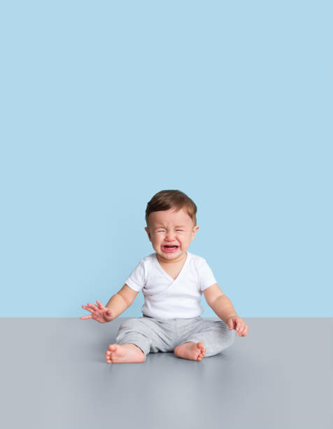 Young toddler crying stock photo