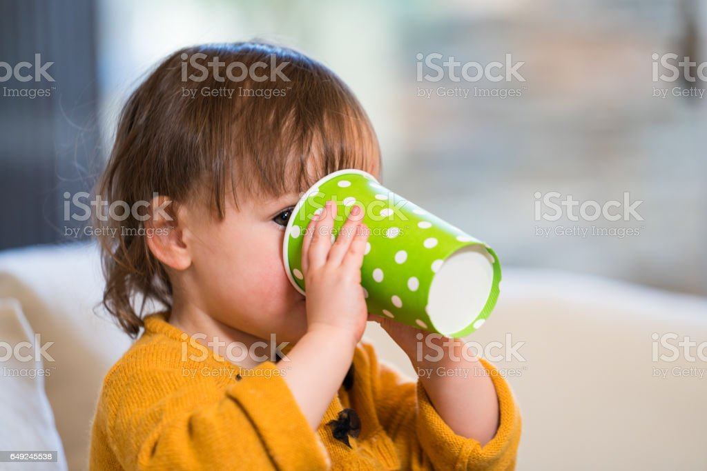 Young toddler drinking from a disposable cup at social event stock photo