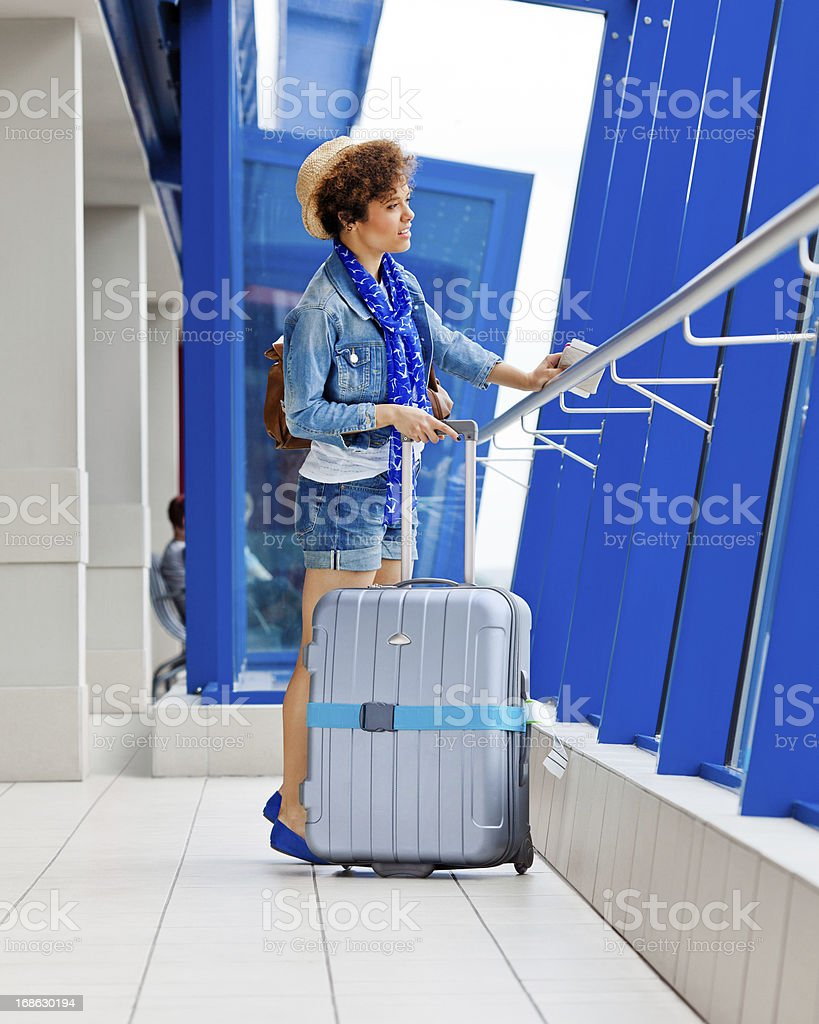Young tourist at the airport royalty-free stock photo
