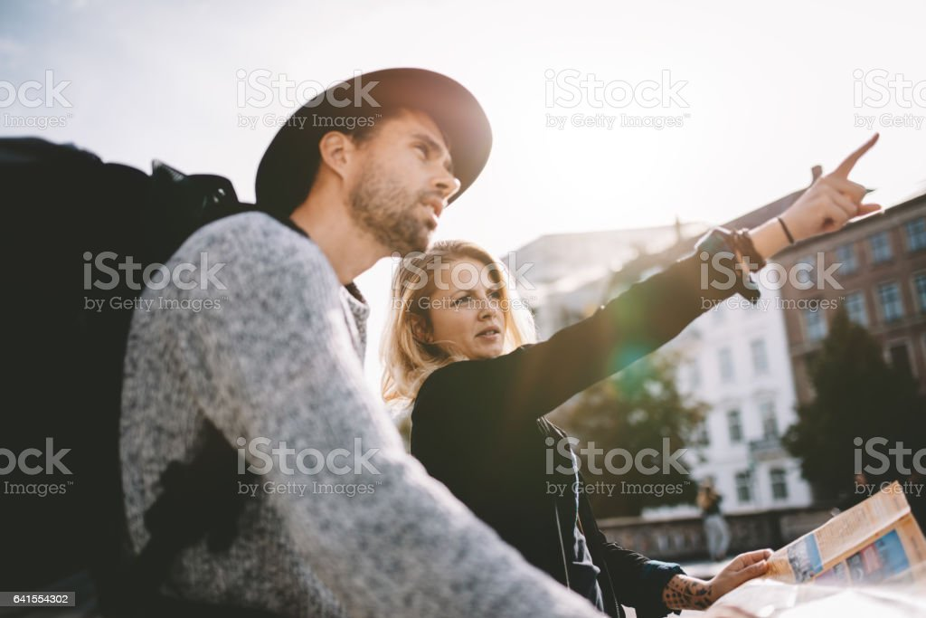 Young tourist couple on a holiday. stock photo
