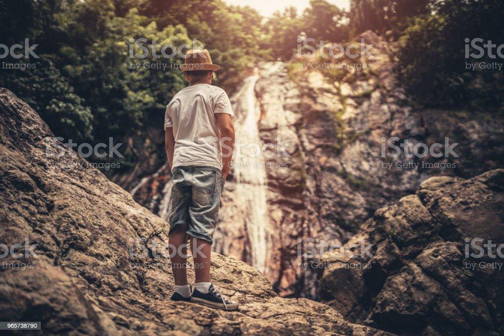 Jonge toeristische jungle verkennen - Royalty-free Avontuur Stockfoto