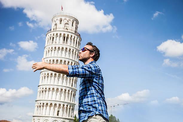 Young tourist having fun in Pisa stock photo