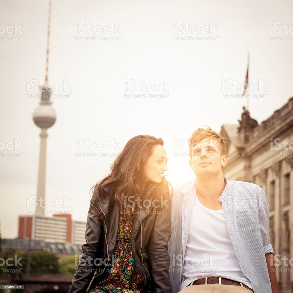 Young tourist lovers couple flirting in Berlin royalty-free stock photo
