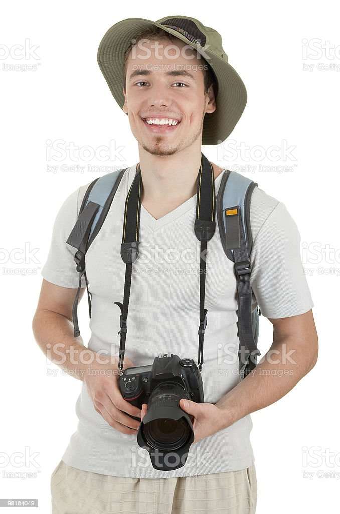 young tourist with camera royalty-free stock photo