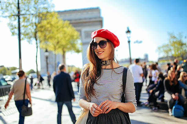 Young tourist woman enjoying Paris stock photo