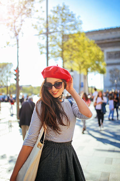 Young tourist woman walking in Paris stock photo