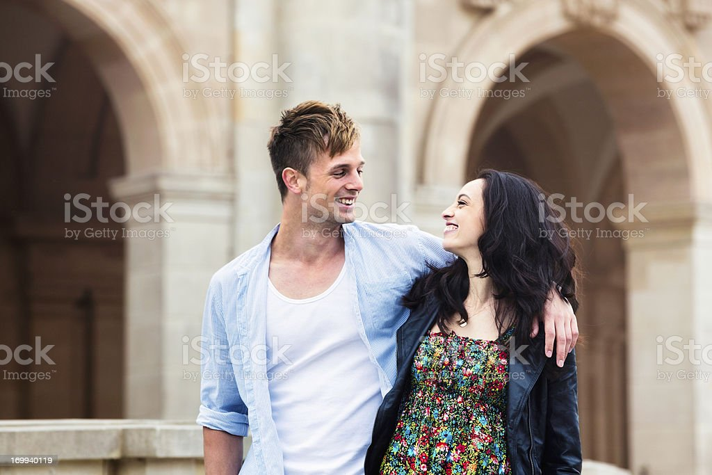 Young tourists in love visiting Berlin royalty-free stock photo
