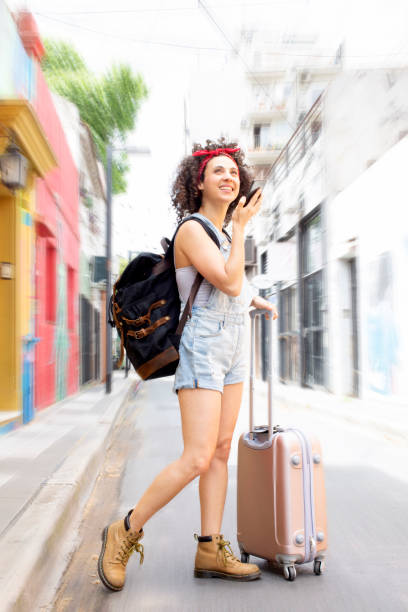 Young tourists traveling stock photo