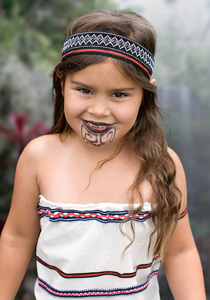 young traditional maori girl - maori stock photos and pictures