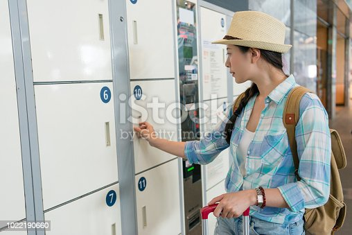 istock young travel woman using the locker 1022190660