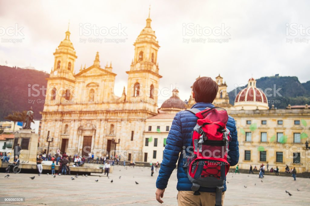 Young traveler in Bogota, Colombia stock photo